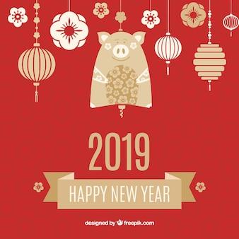 Fondo año nuevo chino farolillos colgando