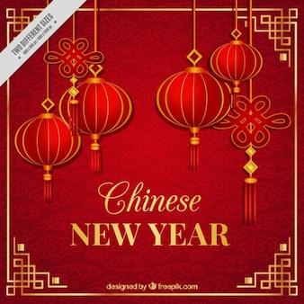 Fondo de año nuevo chino con farolillos