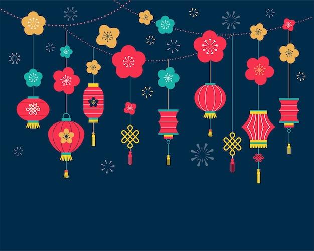 Fondo de año nuevo chino, impresión de tarjetas, plantilla de banner