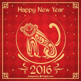 Fondo de año nuevo chino con un mono ornamental
