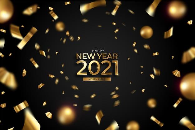 Fondo de año nuevo con confeti y bolas doradas.