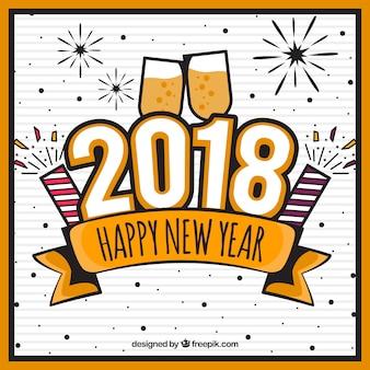 Fondo de año nuevo con copas de champán