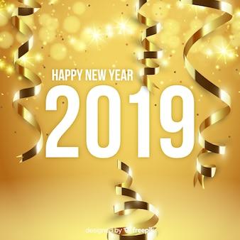 Fondo año nuevo decoración dorada