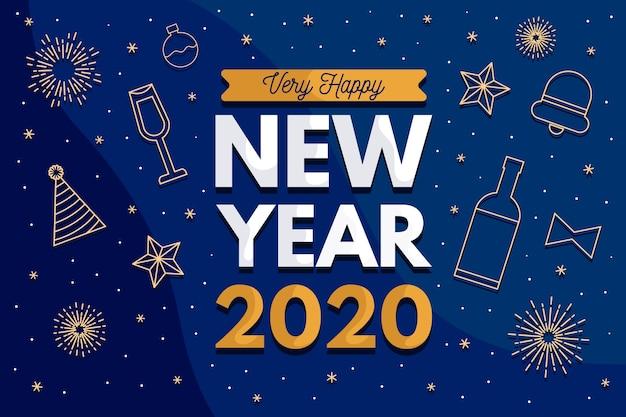 Fondo de año nuevo en diseño plano