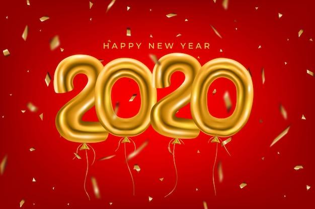 Fondo de año nuevo divertido realista con globos dorados
