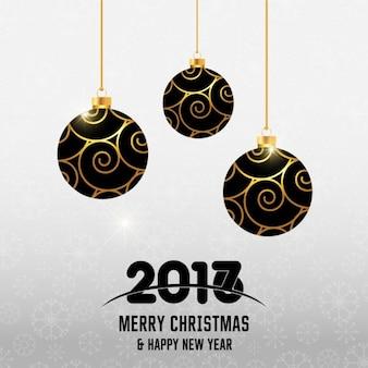 Fondo de año nuevo con elegantes bolas de navidad