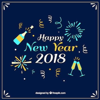 Fondo de año nuevo con elementos divertidos
