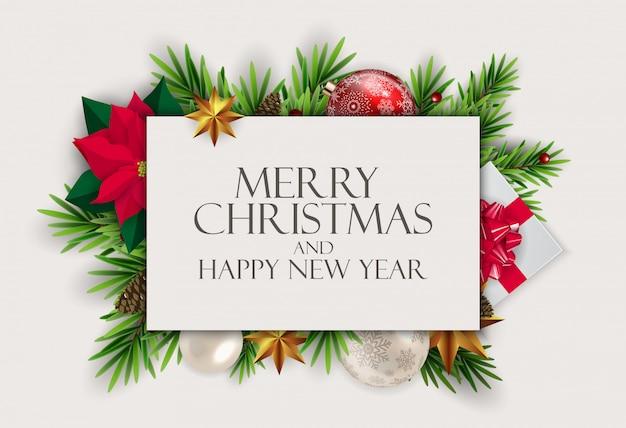 Fondo de año nuevo y feliz navidad Vector Premium