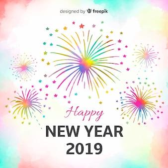 Fondo año nuevo fuegos artificiales coloridos acuarela