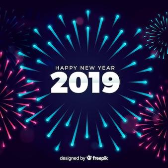 Fondo año nuevo fuegos artificiales planos