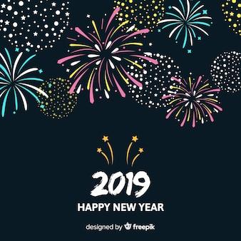 Fondo año nuevo fuegos artificiales simples