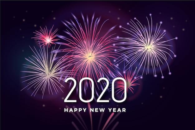 Fondo de año nuevo de fuegos artificiales
