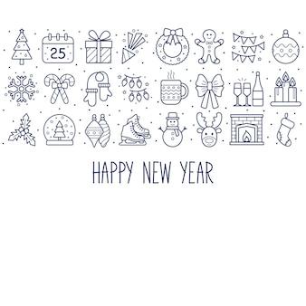 Fondo de año nuevo con iconos. feliz año nuevo. ilustración vectorial