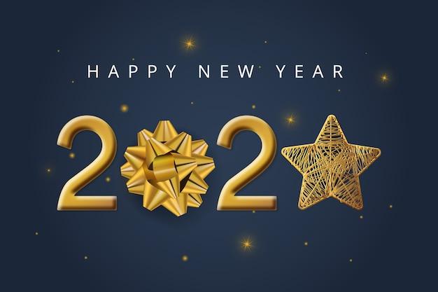 Fondo de año nuevo con lazo de regalo