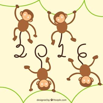 Fondo de año nuevo del mono en un estilo infantil
