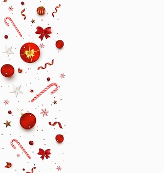 Fondo de año nuevo y navidad. diseño plano con bastones de caramelo, bolas rojas, serpentina, regalos, confeti
