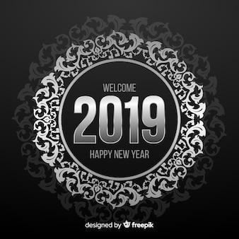 Fondo año nuevo ornamentos plateados