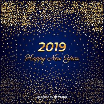 Fondo año nuevo purpurina dorado