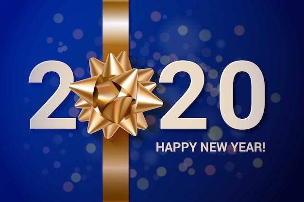 Fondo de año nuevo realista con lazo de regalo dorado