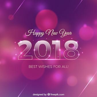 Fondo de año nuevo rosa y morado con efecto bokeh