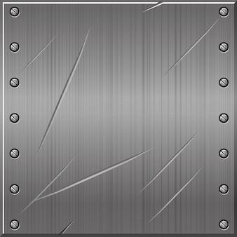 Fondo antiguo gris metálico transparente con clavos. ilustración de un patrón de metal con textura.
