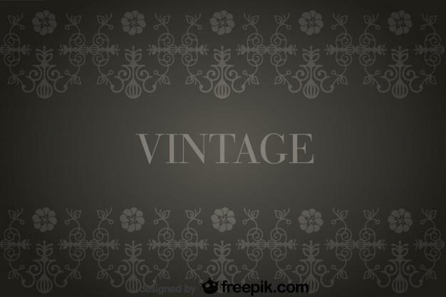 Fondo antiguo oscuro con decoraciones de flores retro