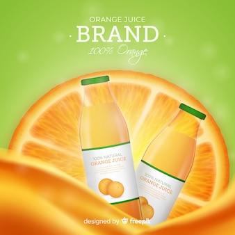 Fondo de anuncio de delicioso zumo de naranja