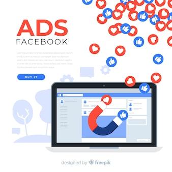 Fondo de anuncio de facebook en diseño plano