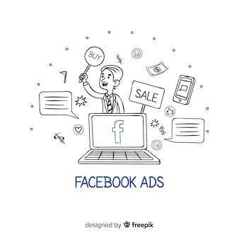 Fondo de anuncio de facebook en garabato