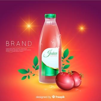 Fondo anuncio realista zumo natural