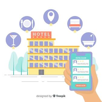 Fondo aplicación reserva de hotel plano