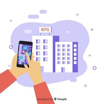 Fondo aplicación reserva de hotel