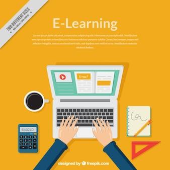 Fondo de aprendizaje en línea con ordenador y persona estudiando