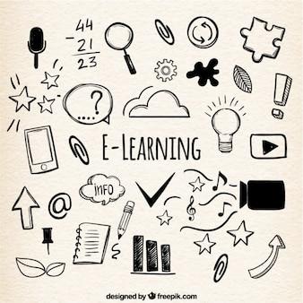 Fondo de aprendizaje en línea con variedad de artículos dibujados a mano