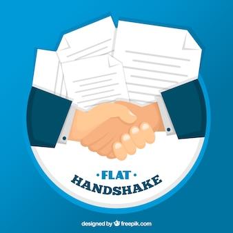 Fondo de apretón de manos de negocios con contracto en estilo plano