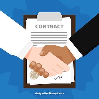 Fondo de apretón de manos de negocios con contrato en estilo plano
