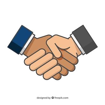 Fondo de apretón de manos de negocios en estilo plano