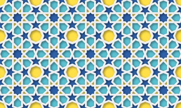 Fondo árabe 3d. patrón geométrico islámico en estilo tradicional, adorno musulmán. ilustración.
