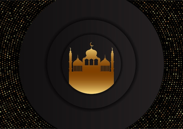 Fondo árabe con diseño de mezquita dorada