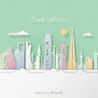 Fondo de arabia saudí con estilo de arte con papel