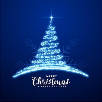 Fondo de árbol azul brillante feliz navidad creativa
