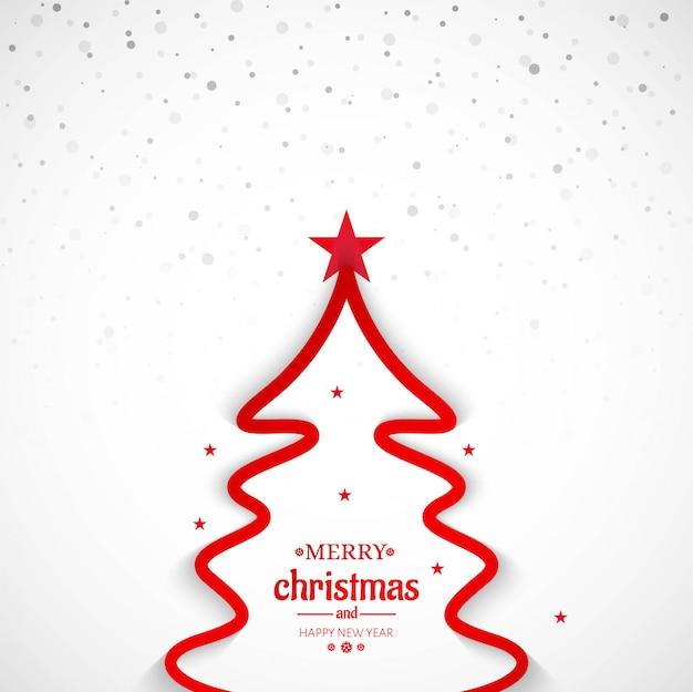 Fondo de árbol de línea mínima de feliz navidad