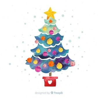 Fondo con árbol de navidad en acuarela