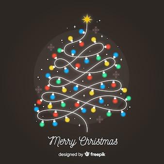 Fondo árbol navidad bombillas