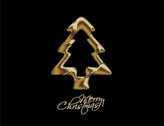 Fondo de árbol de navidad dorado abstracto moderno, ilustración vectorial.