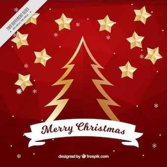 Fondo de árbol de navidad dorado y estrellas