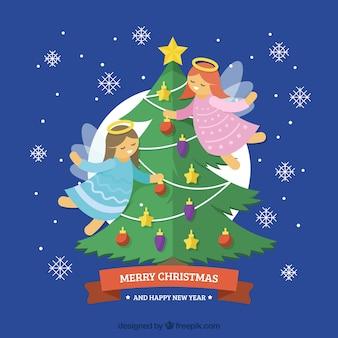 Fondo con un árbol de navidad y dos ángeles volando