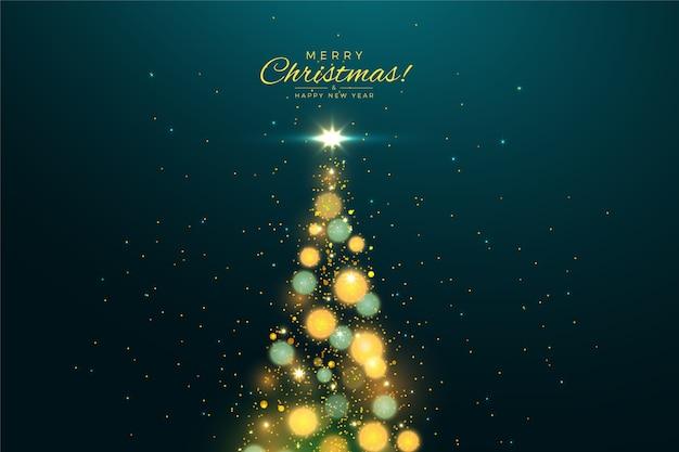 Fondo de árbol de navidad con efecto brillo