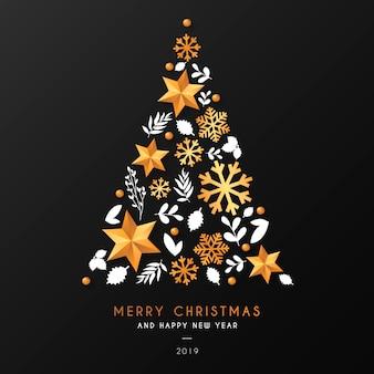 Fondo del árbol de navidad con elementos ornamentales