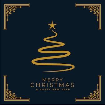 Fondo de árbol de navidad feliz estilo plano